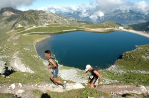 Dachiri Sherpa leads the way up to the top in the classic ultra trail in La Plagne. Photo: F.Ö