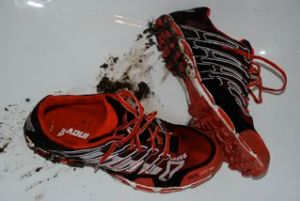 Directly into the bathtub. My muddy Inov-8 Roclite 243's deserves some pampering after a great run.