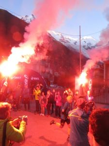 Start of Outrun the Sun at 5am in the city centre of Chamonix.